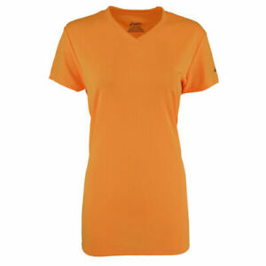 NEW Asics Womens Ready Set Active T-Shirt Top Tee Orange V-Neck Size S
