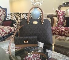 NWT,MICHAEL KORS MK MONOGRAM CINDY LARGE DOME SATCHEL CROSSBODY HANDBAG+WALLET