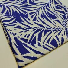 """Soft Viscose Blue White Leaf Print Craft Dress Fabric 58"""" By The Meter"""
