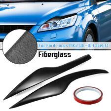 Fiberglass Headlight Eyebrows Eyelids For Ford Focus MK2 Facelift 08-10 Black -
