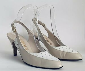 Salvatore Ferragamo Beige & White Leather Sling Back High Heel Shoe UK 4.5 AA