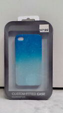 Blue Glossy Custom Fitted Case With Raindrop Design For Apple iPhone 4/4S