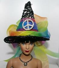 Rainbow Crystal Peace Sign Mini Salem Witch Hat #41 Fairy Doll Bottle Ornament
