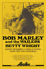 1970's Raggae : Bob Marley  & Wailers at Santa Cruz Concert Poster 1979