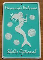 Mermaids Welcome Sign SHELLS OPTIONAL Nautical Ocean Blue Beach Home Decor NEW