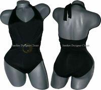 NEW LA BLANCA 8 ruched slimming halter swimsuit black one-piece gold buckle