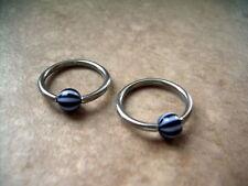 """Pair Neon Beach Ball Captive Bead Ring 14g 1/2"""" Lip Ear Black White"""