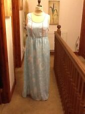 Love Label Long Dress In Blue With Pink Piping Size 16