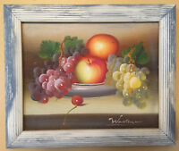 Vintage Original Still Life Artist Signed Fruit Oil Painting