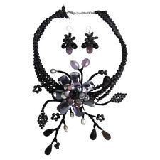 Artsy Purple Nature Floral Branch Statement Jewelry Set