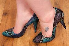 Blau Lila & Schwarz Schlangenleder Muster Pumps Gr 8 von Stylist Pick