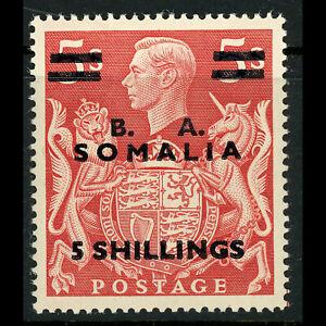 B.I.O.C. SOMALIA 1950 5s on 5s Red. SG S31. Lightly Hinged Mint. (FM350)