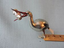 Antique German Glass Christmas Ornament STORK WITH BABY 1940's