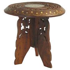 Mesita maceta flores 22x23cm madera latón mesa auxiliar tallada muebles decorar