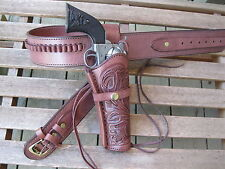 "Gun Belt - Cartridge - with 8"" Tooled Holster Combo - .45 Caliber - Brown"