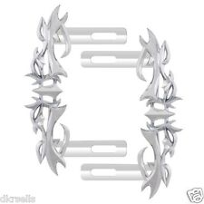 Pilot License Plate Side Mount Frame Tribal Flame Accent Triple Chrome Plated
