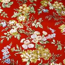 54'W Washable 100% Linen, Cream & Sage Roses on Bright Red, Hamil Textiles, Bty