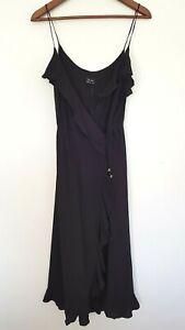 BARDOT Ladies Designer Black Sleeveless Wrap Ruffle Accent Dress size 14 NWT