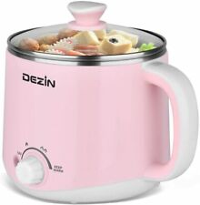 Pink Stainless Steel Electric Mini Hot Pot Rapid Noodles Cooker 1.6 Liter 110V