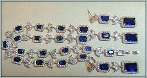 18K White Gold Over Glamour Diamond Sapphire Necklace Earring Set Bridal, Party