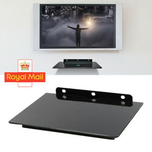 1 Tier Glass Floating Wall Mount Shelf DVD Player Box PS4 Game Console Black
