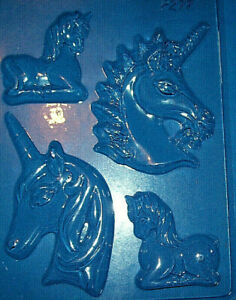FOUR MEDIUM SIZED ASSORTED UNICORN SHAPES CHOCOLATE MOULD OR PLASTER MOULD