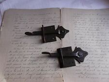 French antique rustic hardware  iron latch lock  c.1900 set of 2