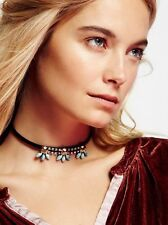 Free People Crystal Blossom Leather Choker-$138 MSRP