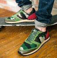 Mens Camo Lace Up Flats Sneakers Sports Shoes Casual Athletic Breathable Fashion