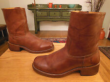 Vtg FRYE Men's Saddle Tan Side Zip Ankle Boots 8M    USA! Style 87235
