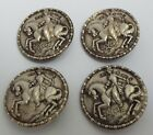 BEAUTIFUL SET OF 4 DECORATIVE ENGLISH ANTIQUE 1907 SOLID STERLING SILVER BUTTONS
