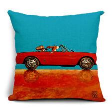 BN fashion dogs driving car LYC red Ferrari cushion cover LINEN COTTON