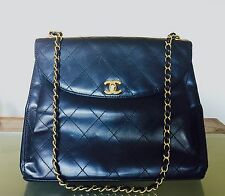 Authentic Chanel Vintage Quilted Lamb Skin Flap Bag