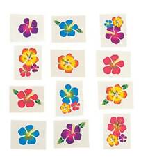 36 LUAU  HAWAIIAN TROPICAL HIBISCUS FLOWER TATTOOS - PARTY FAVORS BIRTHDAY