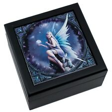 Stargazer Fairy With Crystal Ball Tile Trinket Jewelry Box by Anne Stokes New!