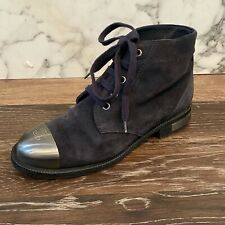 CHANEL Navy Blue Suede Steel Cap Logo Toes Lace-Up Flat Ankle Booties - US 8