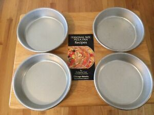 4 ~ NEW CHICAGO PERSONAL SIZE PIZZA PANS ~ HEAVY ~ WITH INSTRUCTIONS & RECIPES