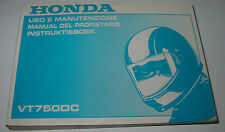 Instruktieboek Honda VT 750 DC Uso E Manutenzione Manual Del Propietario 2000!