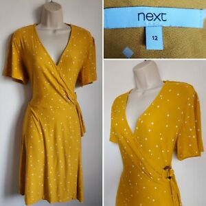 Ladies NEXT Yellow Mustard Faux Wrap Stretch Day Dress 12 Smart Casual