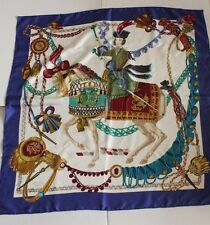 "Hermes La Timbalier Silk Scarf 34 x 34"" Blue AUTHENTIC"
