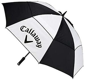 "Callaway Golf Umbrella 60"" Clean Logo Double Canopy Black/White - New 2021"