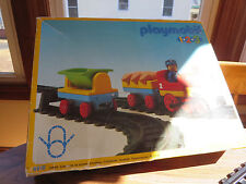 PLAYMOBIL 1-2-3 TRAIN AND TRACKS; 6910; CONDUCTOR, 3 CAR TRAIN, PIGS, TRACKS