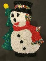 CHRISTMAS DECORATION RARE SNOWMAN Melted Plastic Popcorn COLLECTIBLE GREETER