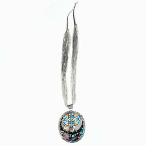 Signed NG Sterling Silver Multi-Stone Inlay Cosmic Design Necklace & Earrings