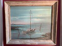Vintage Original Thomas Higham Sail Boat Painting New England
