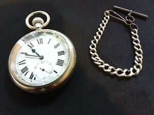 VINTAGE POCKET WATCH WITH  VINTAGE CHAIN