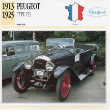 1913-1925 PEUGEOT Type 153 Classic Car Photograph / Information Maxi Card