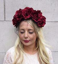 Burgundy Red Black Rose Flower Birdcage Veil Fascinator Races Headpiece 3556
