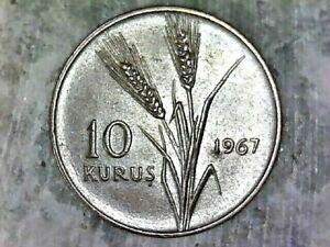 1967 TURKEY 10 KURUS -BRONZE COMPOSITION COIN  KM# 891