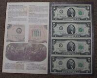1976 4 Subject Uncut $2 Crisp UNC Sheet K-Star Block Letters in BEP Folder